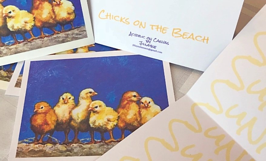 Chicks on the Beach note cards